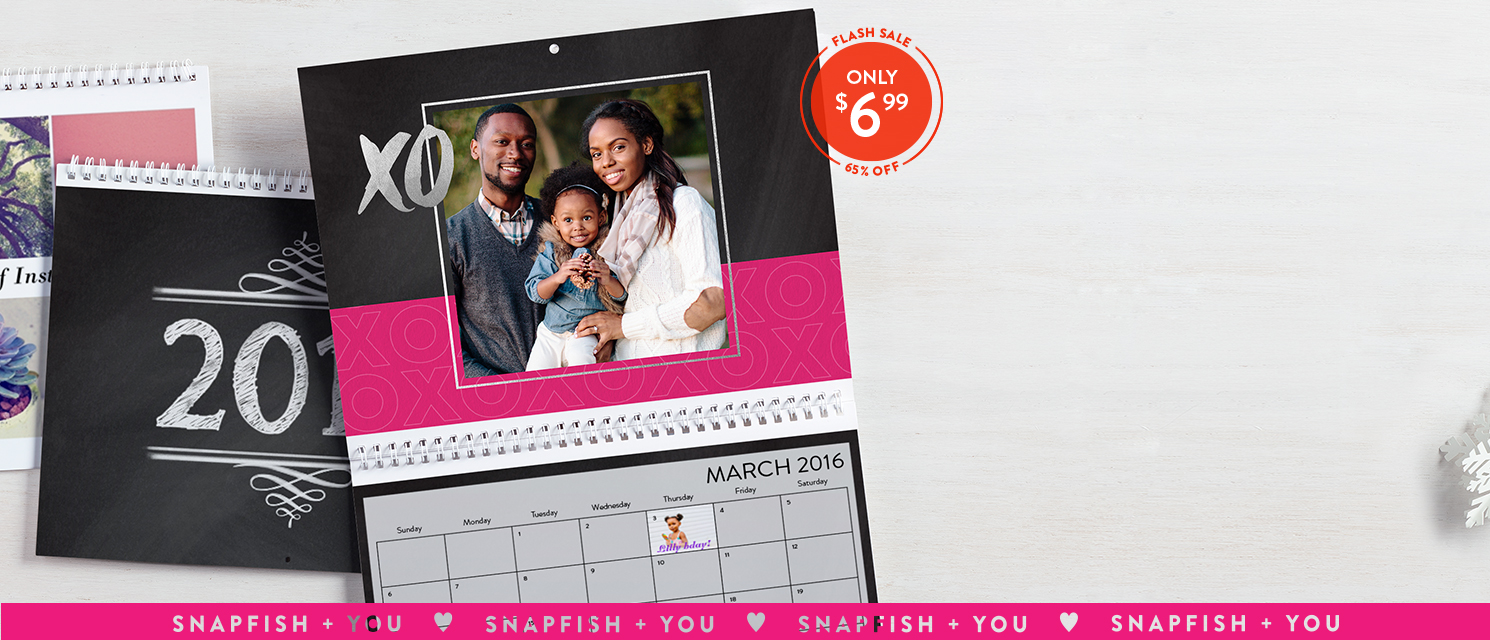 Start every day with a smile : Use CALS699 to showcase your favorite pics and save on 8.5x11 wall calendars.